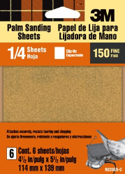 3M Aluminum Oxide Quarter Sheets 9220ES, 4.5 in x 5.5 in, Fine grit, Open Stock