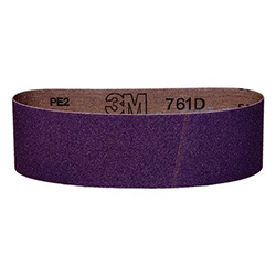 3M Cloth Belt 761D, 80 Y-weight, 3 in x 21 in, Film-lok, Single-flex, 25 per case