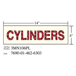3M Photoluminescent Film 6900, Shipboard Sign 3MN106PL, 14 in x 4 in, CYLINDERS, 10/pkg