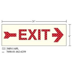 3M Photoluminescent Film 6900, Shipboard Sign 3MN116PL, 24 in x 8 in, EXIT W/RGT ARW, 10/pkg
