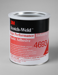 3M Scotch-Weld High Performance Industrial Plastic Adhesive 4693 Light Amber, 1 gal, 4 per case