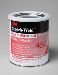 3M Scotch-Weld High Performance Industrial Plastic Adhesive 4693 Light Amber, 1 qt, 12 per case
