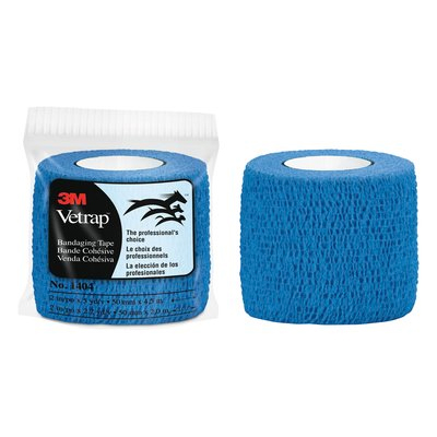 3M Vetrap Bandaging Tape 1404B, 2 in x 5 yd, Blue, 18 Rolls per Case