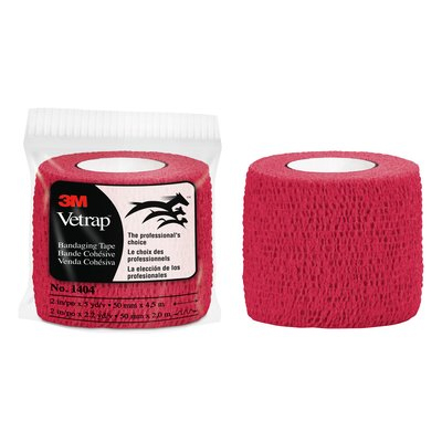 3M Vetrap Bandaging Tape, 1404R, 2 in x 5 yd, Red, 18 Rolls per Case