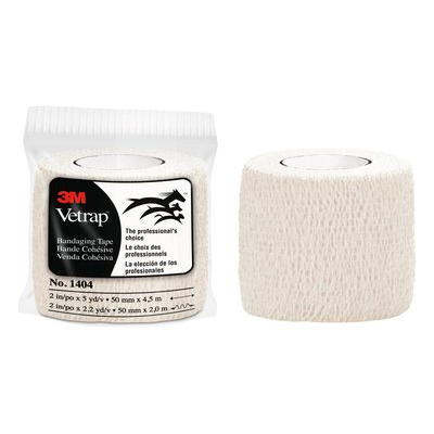 3M Vetrap Bandaging Tape 1404W, 2 in x 5 yd, White, 18 Rolls per Case