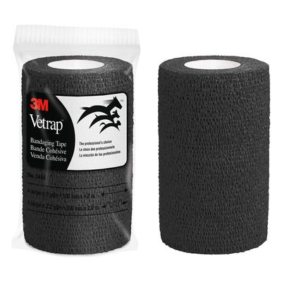 3M Vetrap Bandaging Tape Bulk Pack 1410BK, 4 in x 5 yd, Black, 100 Rolls per Case