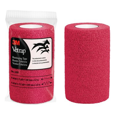 3M Vetrap Bandaging Tape Bulk Pack, 1410R, 4 in x 5 yd, Red, 100 Rolls per Case