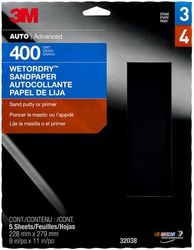 3M WetordrySandpaper, 32038, 400 Grit, 9 inch x 11 inch, 5 sheets per pack