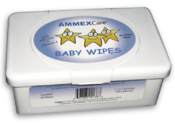 AMMEX BWCT AMMEXCare Baby Wipes Tubs, 80 Wipes Per Tub, 12 Tubs Per Case