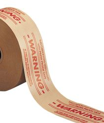 Central 260 3X450 WARN Heavy Duty Grade Reinforced Kraft Gum Tape 260 Natural, WARNING - PILFE, 3