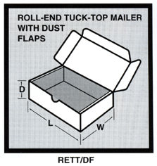 HP-GB3 Corrugated Roll-End Tuck-Top Mailer with Dust Flaps White, 19 x 12 x 3, 25 Per Bundle