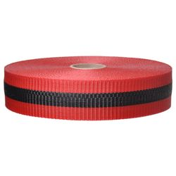 PRESCO BW2RBK200-458 2 x 200 Ft Red/Black Striped, Woven Barricade Tape, 48 Rolls Per Case