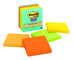 Post-it Super Sticky Recycled Notes 654-6SSNRP, 3 in x 3 in (76 mm x 76 mm) Farmers Market
