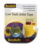 Scotch Artist Tape FA2020, 3/4 in x 10 yd Low Tack