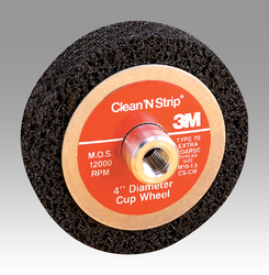 Scotch-Brite Clean and Strip Cup Wheel, 4 in x 3/8-24 7S XCS, 4 per case-OBSOLETE