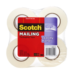 Scotch Tear-By-Hand Mailing Packaging Tape 3842-4, 1.88 in x 50 yd (48 mm x 45.7 m), 4 pk