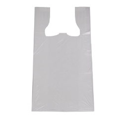 White Plastic Plain T-Shirt Bags, 12 in x 7 in x 22 in, High Density 13 Micron, 2000 Per Carton