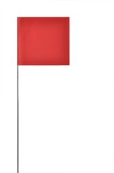 PRESCO 4521R Solid Red Marking Flag, 4 x 5, 21 Wire staff, 1000 Flags Per Case