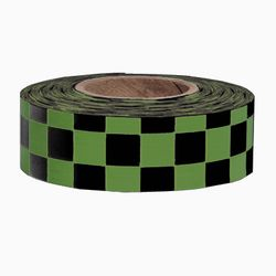 PRESCO CKGBK 1-3/16 x 300 Ft, 2 Mil, Green/Black Checkerboard Patterned Roll Flagging, 12 Rolls Pe