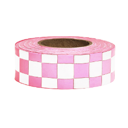PRESCO CKPGW 1-3/16 x 150 Ft, 2.5 Mil, Pink Glo/White Checkerboard Patterned Roll Flagging, 12 Rol
