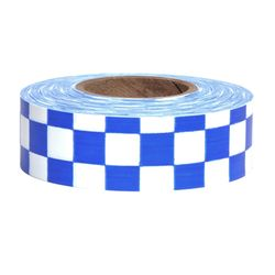 PRESCO CKWB 1-3/16 x 300 Ft, 2 Mil, White/Blue Checkerboard Patterned Roll Flagging, 12 Rolls Per
