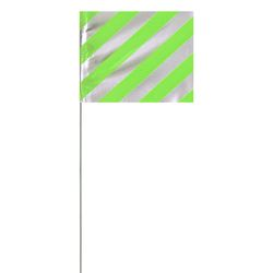 PRESCO P4530REFLG Day/Night Visibility Lime Glo Marking Flag 4 x 5, 30 Plastic Staff 1000 Flags