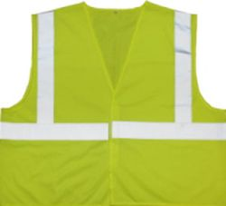 PRESCO VC2L2LG-XL X-Large, Lime Glo ANSI Class 2 Tricot Fabric Mesh Safety Vest