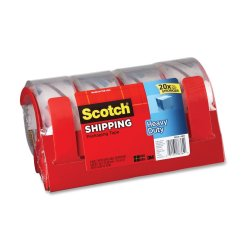 Scotch Heavy Duty Shipping Packaging Tape 3850-4RD, 1.88 in x 54.6 yd (48 mm x 50 m) 4-Pack