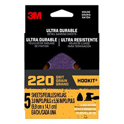3M Ultra Durable Detail Sanding Sheets, 220 grit, Mousepk220, 5/pk, 20/case