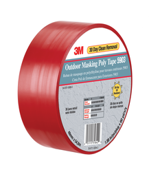 3M Outdoor Masking Poly Tape 5903 Red, 50 in x 60 yd, 4 per Case Bulk