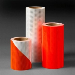 3M Diamond Grade DG^3 Pre-Striped Barricade Sheeting Series 444R Orange/White, 4 in right, 12 in x