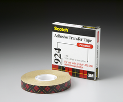 Scotch ATG Adhesive Transfer Tape 924 Clear, 0.50 in x 60 yd 2.0 mil, 12 rolls per inner 6 inners