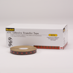 Scotch ATG Adhesive Transfer Tape 969 Clear, 0.50 in x 36 yd 5.0 mil, 12 rolls per inner 6 inners