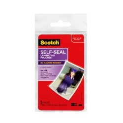 Scotch Self-Sealing Laminating Pouches PL903G, 2.9 in x 3.8 in (74 mm x 99 mm)