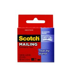 Scotch Tear By Hand Mailing Packaging Tape 3841, 1.88 in x 629 in (48 mm x 16 m)
