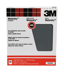 3M Pro-Pak Wetordry Between Finish Coats Sanding Sheets 99420NA, 9 in x 11 in, 400A grit 25 sht pk
