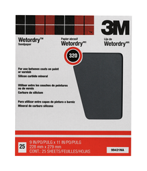 3M Pro-Pak Wetordry Between Finish Coats Sanding Sheets 99421NA, 9 in x 11 in, 320A grit, 25 sht p