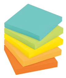 Post-it Super Sticky Recycled Notes 654-5SSNRP, 3 in x 3 in (76 mm x 76 mm) Farmers Market colors