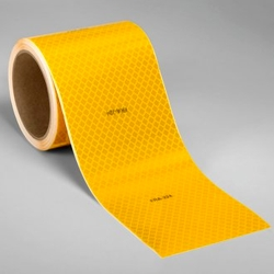 3M Diamond Grade Flexible Prismatic Rail Marking Series 973-71 FRA Yellow, (4 in x 18 in cuts), 4