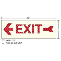 3M Photoluminescent Film 6900, Shipboard Sign 3MN115PL, 24 in x 8 in, EXIT W/LEFT ARW, 10/pkg