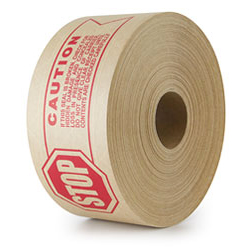 Utility Grade Reinforced Kraft Gum Tape 233 Natural, STOP - CAUTION Warning Print, 70 mm x 450 ft,